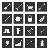Set of icons on garden tools theme