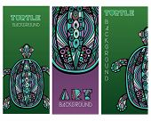 Set Of Cards With Abstract Turtles