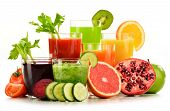 stock photo of fruit-juice  - Glasses with fresh organic vegetable and fruit juices isolated on white - JPG
