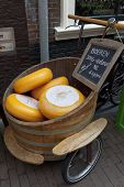 HAARLEM,NETHERLANDS - JULY 26, Cheese display in the street in front of the shop