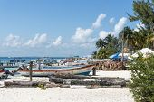 ISLA MUJERES - JANUARY 21: View of the port on 21 January 2015 in Isla Mujeres, Mexico. The island is located 8 miles east of Cancun in the Gulf of Mexico.