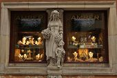 WARSAW, POLAND - JULY 31, 2013: Window of amber shop in Warsaw, Poland.