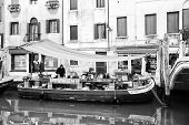 Market Place On Boat Bw