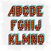 lightbulb alphabet font A-O