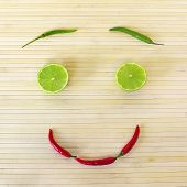 Decorative Composition With Healthy Eating Smiling Face From Vegetables And Fruits.