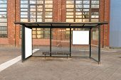picture of bus-shelter  - Empty Bus Stop Travel Station In City