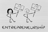 image of entrepreneur  - men and women entrepreneurs with signs that say I love my Job - JPG