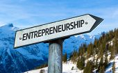 Entrepreneurship sign with winter background