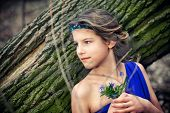 Girl in spring forest