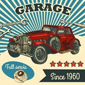 image of muscle-car  - Retro car service sign - JPG