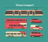 picture of car symbol  - set of vehicles cars trucks and trains in the city flat style - JPG