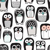 Seamless quirky kids penguin and owl illustration retro style black and white with pastel color pops background pattern in vector