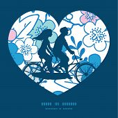 pic of tandem bicycle  - Vector blue and pink kimono blossoms couple on tandem bicycle heart silhouette frame pattern greeting card template graphic design - JPG