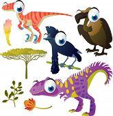 set of cute comic animals: dinosaur, vulture, umbrella bird