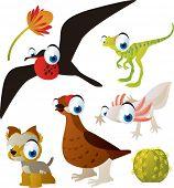 set of cute comic animals: frigate bird, dinosaur, grouse, yorksire terrier, axolotl