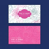 Vector gray and pink lineart florals horizontal frame pattern business cards set