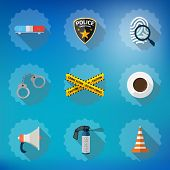 Police Sequrity Flat Vector Icon Set. Include Road Cone, Barrica