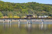 image of andong  - Wolryeong bridge across Nakdong river in Andong city - JPG