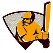 picture of bat  - Illustration of a cricket batsman batting with bat set inside shield done in retro style - JPG
