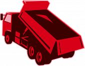 foto of dump_truck  - Illustration of a dump dumper truck dumping load viewed from rear done in retro style on isolated white background - JPG