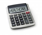 Calculator with the word healthcare on the display