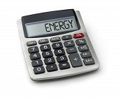 Calculator with the word energy on the display