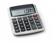 Calculator with the word loan on the display