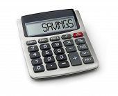 Calculator with the word savings on the display