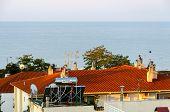 Solar Collector On The Roof Of The House, Nea Kallikratia, Greece
