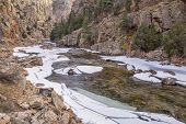 stock photo of collins  - Cache la Poudre River at Big Narrows west of  Fort Collins in northern Colorado  - JPG
