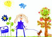 girl and dog walking on meadow. child drawing.