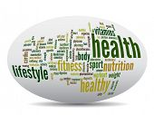 Concept or conceptual 3D oval or ellipse abstract health word cloud or wordcloud on white background