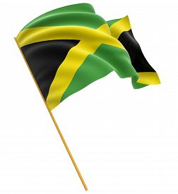 image of jamaican flag  - 3D Jamaican flag with fabric surface texture - JPG