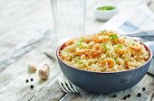 image of quinoa  - quinoa with shrimp and parsley on a white wood background - JPG