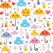 picture of raindrops  - cute umbrellas raindrops flowers clouds sky seamless pattern - JPG