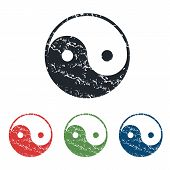 stock photo of ying yang  - Colored grunge icon set with image of ying yang - JPG