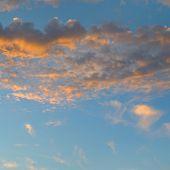 stock photo of cumulus-clouds  - a beautiful sun rise and cumulus clouds - JPG