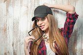 stock photo of flirt  - Waist up portrait of loving hipster girl with Caucasian appearance - JPG