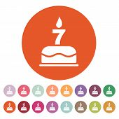 stock photo of number 7  - The birthday cake with candles in the form of number 7 icon - JPG