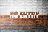 image of no entry  - Red Brick wall texture background with a word No Entry - JPG