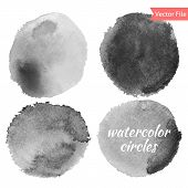 stock photo of circle shaped  - Grey Watercolor Vector Circles Set - JPG