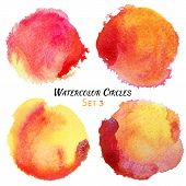 picture of circle shaped  - Watercolor Red and Yellow Colorful Circles Set - JPG