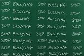 stock photo of punishment  - Stop bulling message written on black board as punishment - JPG