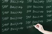 picture of punishment  - Stop bulling message written on black board as punishment - JPG