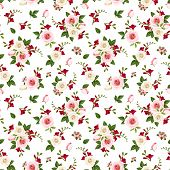 foto of english rose  - Vector seamless pattern with red - JPG