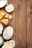 stock photo of milk products  - Dairy products on wooden table - JPG