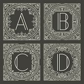 picture of initials  - Set of vector floral and geometric monogram logos with capital letter on dark gray background - JPG