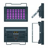 Led Ultraviolet Professional Stage Projector Colored Flat Illustration Various Position. poster