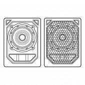 image of subwoofer  - vector professional tour array subwoofer loudspeakers dark contour illustration white background - JPG