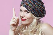 picture of beret  - young and beautiful blonde in a colorful beret and bright lipstick - JPG